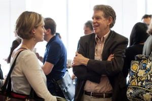 Robert LaMotte, Yale University and Ellen Lumpkin, Columbia University, discussing touch and itch during a coffee break.