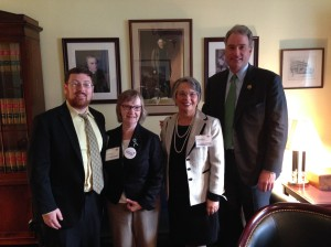 BPS public affairs committee member Seth Weinberg, far left, with other biomedical research advocates and U.S. Representative Robert Hurt (R-VA), far right.